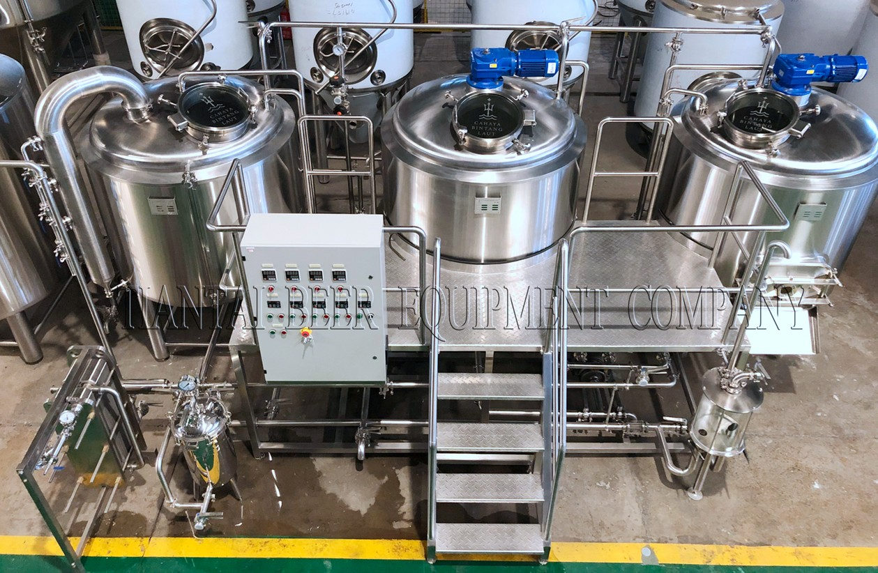 1000L Three vessel steam heated stainless steel brewery equipment