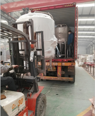craft brewery equipment loading to UK