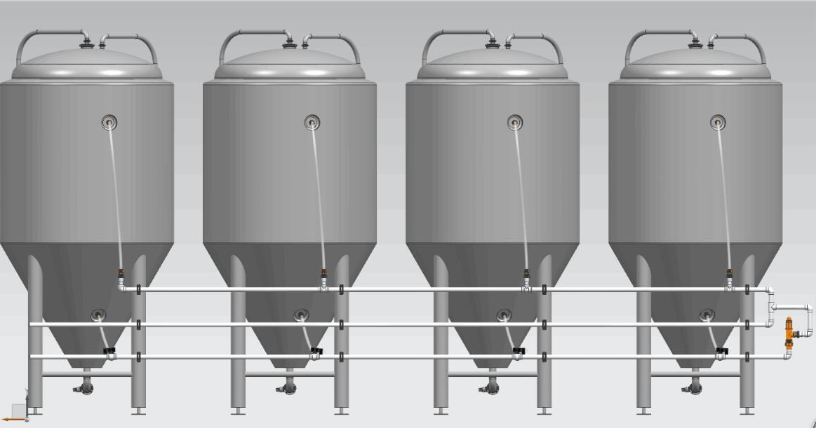 The Glycol pipeline for beer fermenation tank