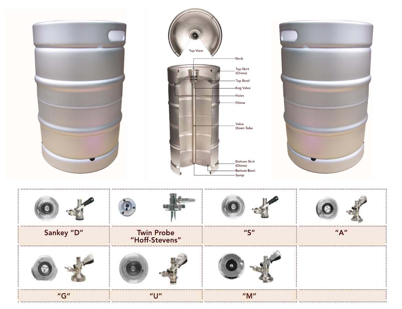 <b>USA standard 1/2 bbl stainless steel beer keg</b>