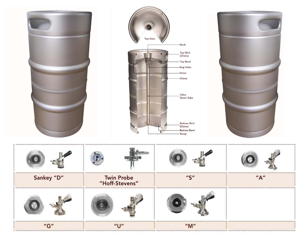 USA standard 1/4 bbl stainless steel beer keg
