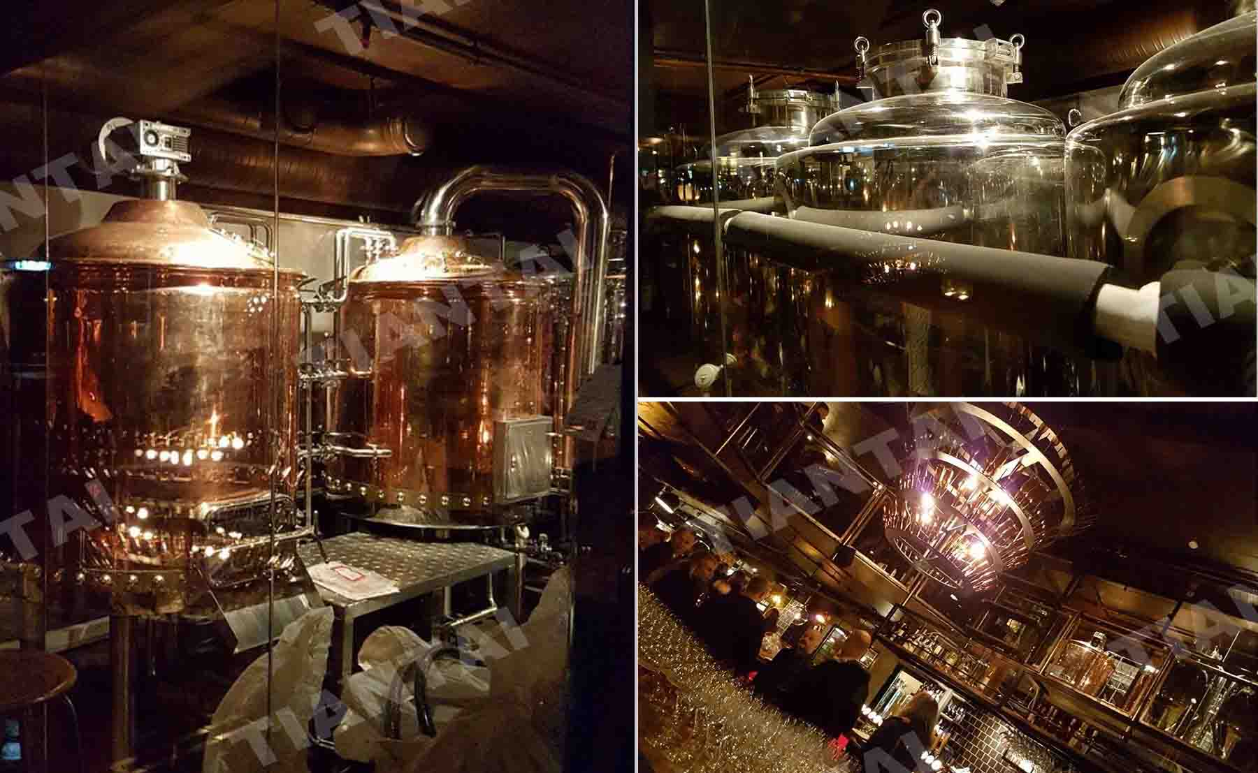 Two vessel red copper brewery equipment running well in Europe