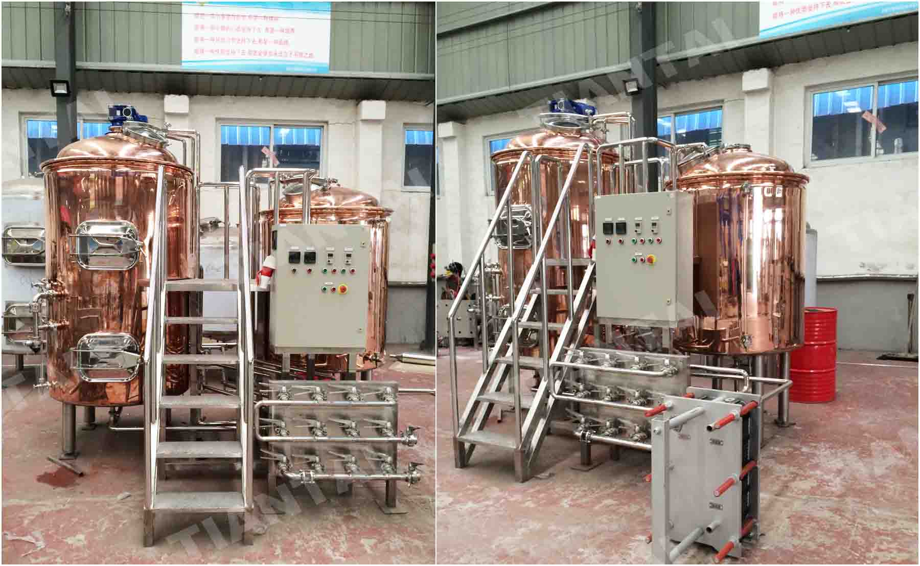 Two-body, three vessel red copper brewhouse finished production